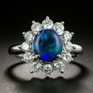 Estate 1.67 Carat Black Opal and Diamond Halo Ring - 1