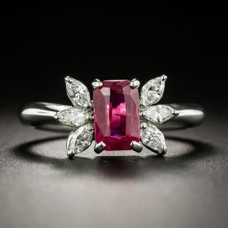 Estate 1.70 Carat Burmese Ruby and Diamond Ring - 1