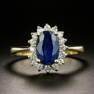 Estate 1.75 Carat Sapphire and Diamond Halo Ring - 3