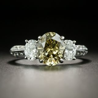 Estate 1.78 Carat Natural Fancy Brownish Yellow Oval Diamond Engagement Ring - GIA - 1