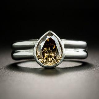 Estate 1.80 Carat Natural Brown Pear-Cut Diamond Engagement Ring - 2