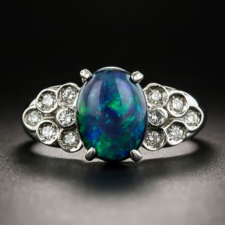 Estate 1.83 Carat Black Opal Cabochon and Diamond Ring - 1