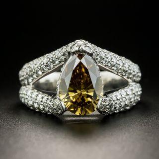 Estate 1.86 Pear-Cut Natural Fancy Dark Yellow-Brown Diamond Ring - GIA  - 1
