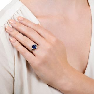 Estate 1.90 Carat Sapphire and Diamond Ring