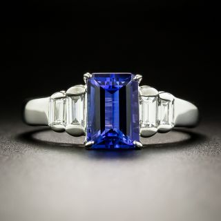 Estate 1.96 Carat Emerald-Cut Tanzanite and Diamond Ring - 3