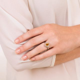 Estate 1.97 Carat Golden Sapphire and Diamond Ring