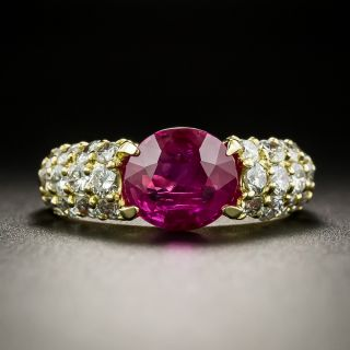 Estate 1.98 Carat Burmese Ruby and Diamond Ring - 2
