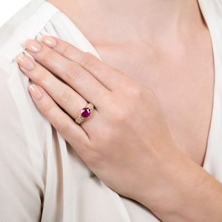 Estate 1.98 Carat Burmese Ruby and Diamond Ring