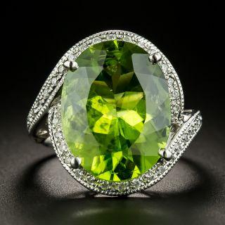Estate 10-Carat Peridot and Diamond Cocktail Ring - 3