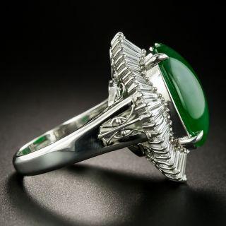 Estate 11.05 Carat Natural Burmese Jade and Diamond Ballerina Ring