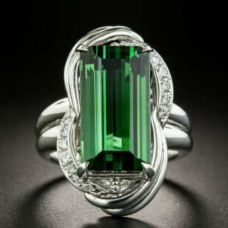 Estate 11.67 Carat Green Tourmaline and Diamond Ring - 2
