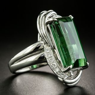 Estate 11.67 Carat Green Tourmaline and Diamond Ring