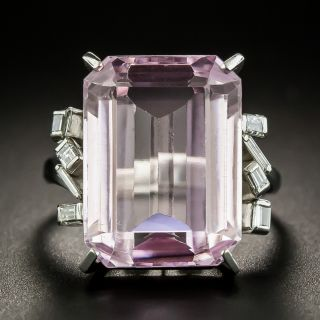 Estate 11.80 Carat Kunzite and Diamond Cocktail Ring