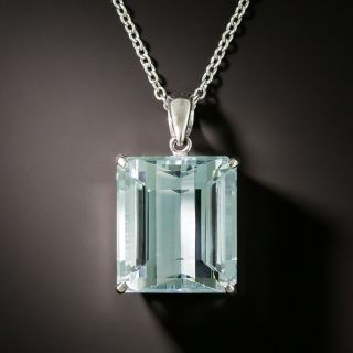Estate 12.44 Carat Aquamarine Soliatire Necklace - 3