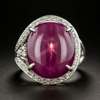 Estate 14.93 Carat Star Ruby and Diamond Ring - 1