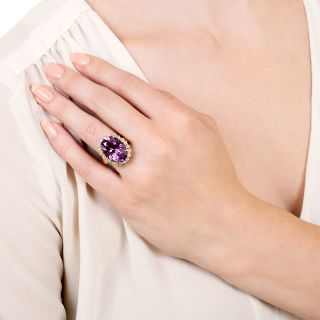 Estate 14 Carat Amethyst and Diamond Cocktail Ring