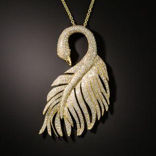 Estate Diamond Swan Pendant - 2