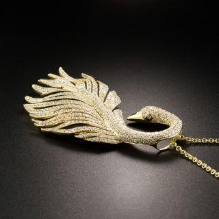Estate 18K Diamond Swan Pendant