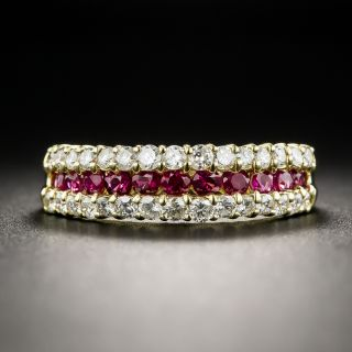 Estate 18K Ruby and Diamond Band Ring - 2