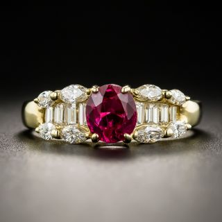Estate 18K Ruby And Diamond Ring - 1
