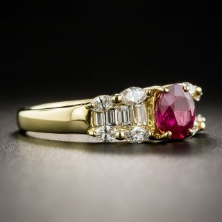 Estate 18K Ruby and Diamond Ring