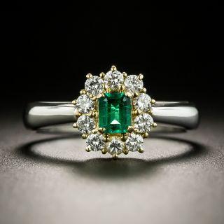 Estate .19 Carat Emerald and Diamond Halo Ring - 2