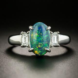 Estate 2.00 Carat Black Opal and Diamond Ring - 1