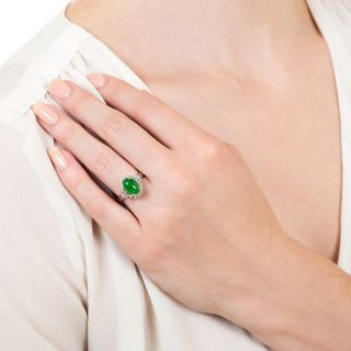 Estate 2.00 Carat Natural Jade and Diamond Ring
