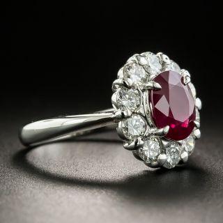 Estate 2.03 Carat Oval Burmese Ruby and Diamond Halo Ring