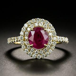 Estate 2.05 Carat Burmese Ruby and Diamond Double Halo Ring - GIA - 1