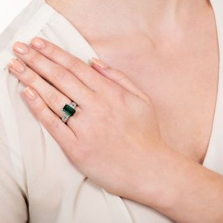 Estate 2.16 Carat Green Tourmaline and Diamond Ring