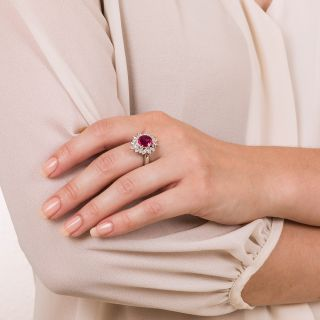 Estate 2.16 Carat Ruby and Diamond Ring