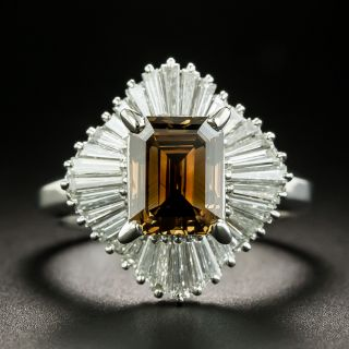 Estate 2.18 Carat Natural Brown Emerald-Cut Diamond Ballerina Ring - GIA - 1