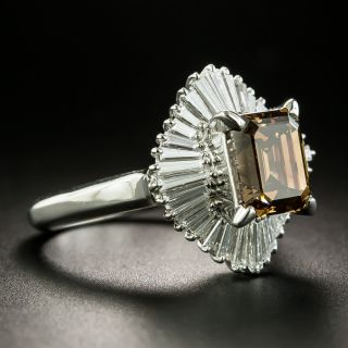 Estate 2.18 Carat Natural Brown Emerald-Cut Diamond Ballerina Ring - GIA