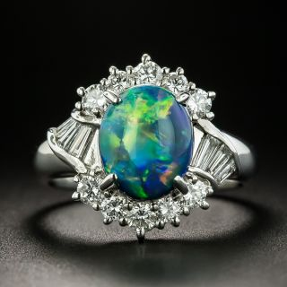 Estate 2.20 Carat Black Opal and Diamond Ring - 1