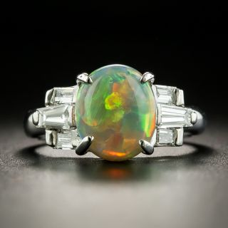 Estate 2.21 Carat Opal Cabochon and Diamond Ring - 1