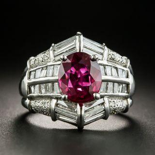 Estate 2.24 Carat Thai Ruby Platinum Diamond Ring - GIA - 1