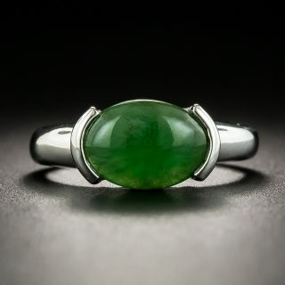 Estate 2.27 Carat Burmese Jade Solitaire Ring - 1