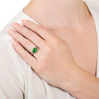 Estate 2.27 Carat Burmese Jade Solitaire Ring