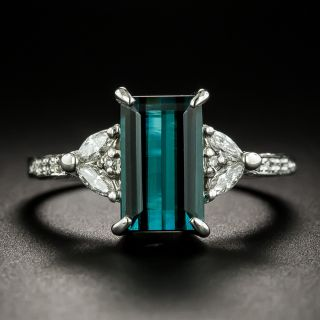 Estate 2.33 Carat Indicolite Tourmaline and Diamond Ring - 3