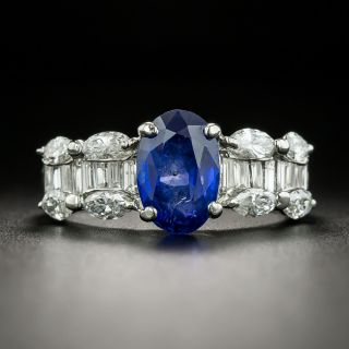 Estate 2.36 Carat No-Heat Burma Sapphire and Diamond Ring - GIA - 1