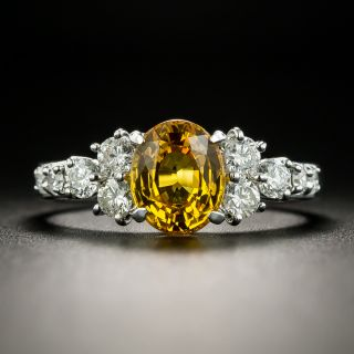 Estate 2.42 Carat Yellow Sapphire and Diamond Ring - 2