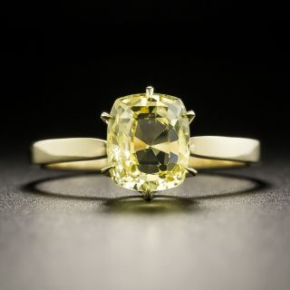 Estate 2.43 Carat Natural Yellow Sapphire Solitaire Ring - 2