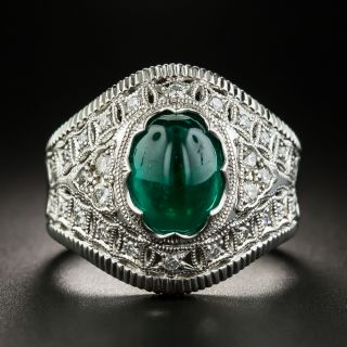 Estate 2.48 Carat Cabochon Emerald and Diamond Ring  - 1