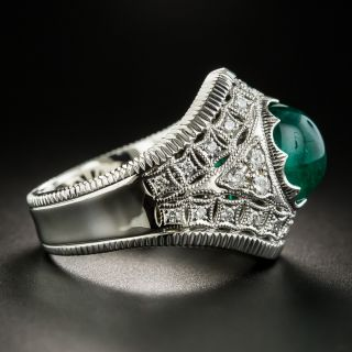 Estate 2.48 Carat Cabochon Emerald and Diamond Ring
