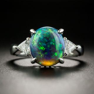 Estate 2.49 Carat Black Opal and Diamond Ring - 2