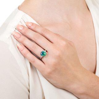 Estate 2.49 Carat Black Opal and Diamond Ring
