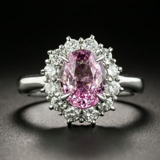 Estate 2.51 Carat Padparadscha Sapphire and  Diamond Cluster Ring - 1
