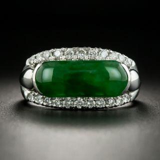 Estate 2.51 Carat Saddle Jade and Diamond Ring - 1