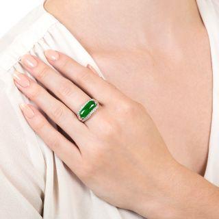 Estate 2.51 Carat Saddle Jade and Diamond Ring